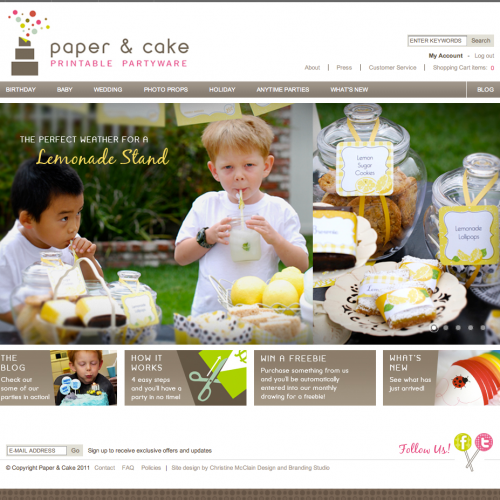 Paper & Cake home page